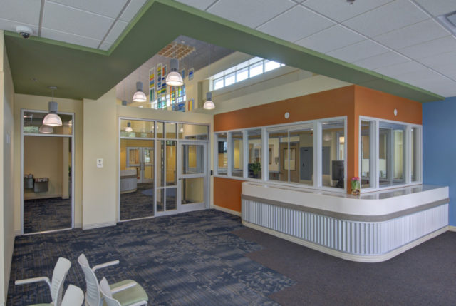 Separate entrances lead to the men's and women's dorm rooms at The Kearney Center. Image courtesy Sarasota County