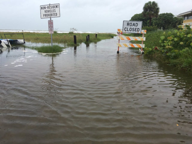 North Beach Road was flooded at the Columbus Boulevard intersection on Sept. 1. Photo courtesy Sarasota County Sheriff's Office