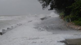 Waves wash over North Casey Key Road on Sept. 1. Photo courtesy Sarasota County Government