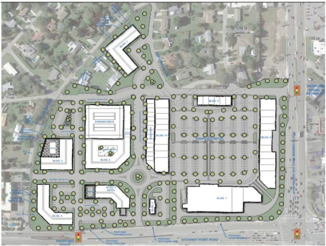 A graphic in the August application shows this site plan for Siesta Promenade. Image courtesy Sarasota County