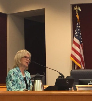 Susan MacManus addresses the County Commission on Sept. 7. Photo courtesy Sarasota County