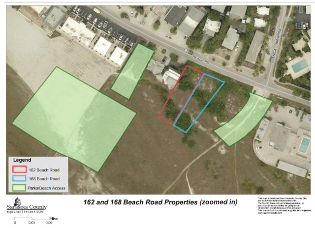 A county aerial map shows the two parcels and nearby county property. Image courtesy Sarasota County