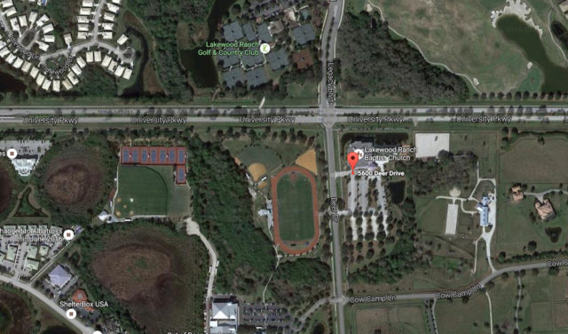 An aerial map shows the 5600 Deer Drive site where the Nov. 6 rally will be held. Image from Google Maps