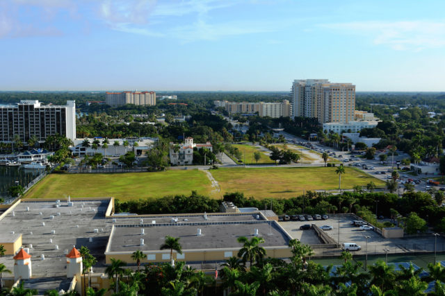 An aerial view shows the Quay property adjacent to U.S. 41 in downtown Sarasota. File photo
