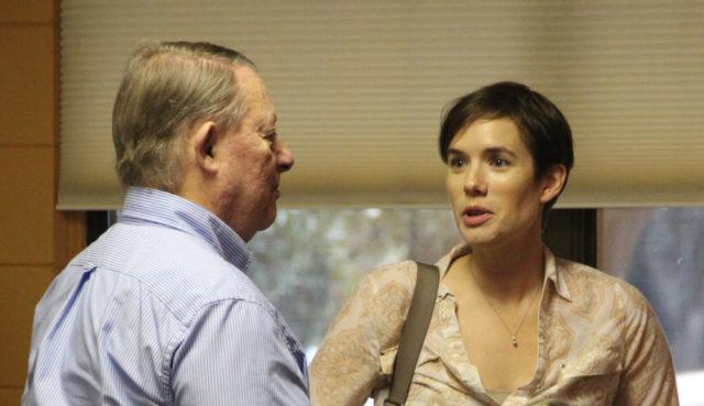 Robert Luckner (left), a Siesta Key Association committee leader, talks with Rachel Herman, environmental permitting manager for Sarasota County. Rachel Hackney photo