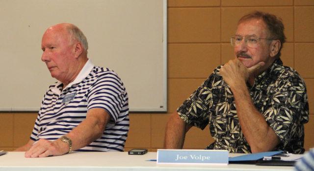 SKA board members Bob Miller (left) and Joe Volpe listen to members in October. Rachel Hackney photo