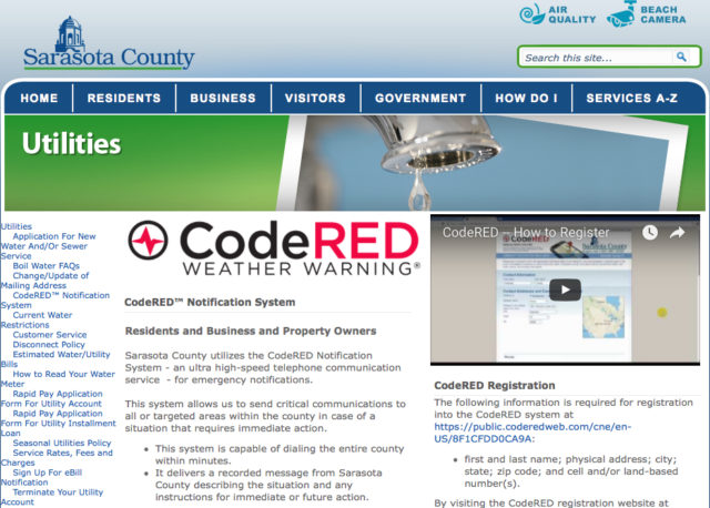 Image from the county's CodeRed webpage