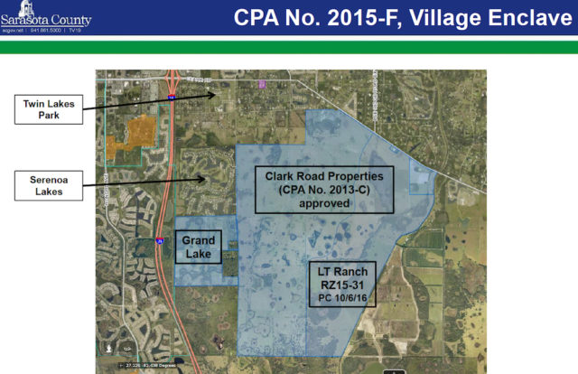 A graphic shows the proposed location of Grand Lake. Image courtesy Sarasota County