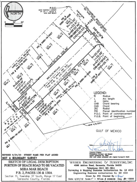 A legal sketch shows the road segment vacated by Sarasota County. Image courtesy Sarasota County