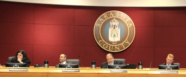 (From left) Commissioners Christine Robinson, Vice Chair Paul Caragiulo, Chair Al Maio and Commissioner Charles Hines listen to testimony on Oct. 25. Rachel Hackney photo
