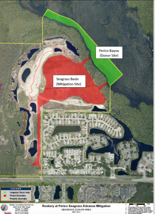 A graphic provided to FDEP shows the intended seagrass mitigation area in Perico Preserve. Image courtesy State of Florida