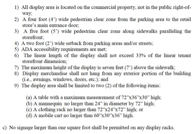 The Siesta Key Overlay District ordinance includes these restrictions on outdoor retail displays. Image courtesy Sarasota County
