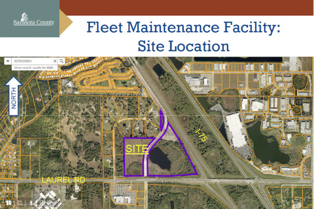 A graphic shows the planned location of the new Sheriff's Office Fleet Maintenance Facility on Laurel Road. Image courtesy Sarasota County