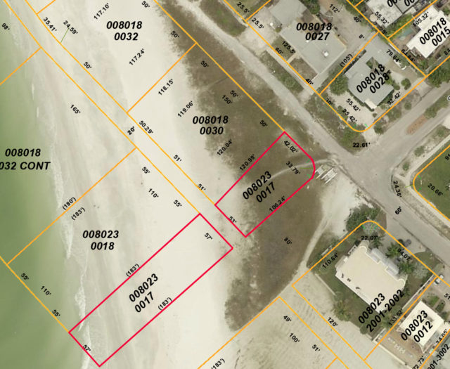 The parcels outlined in red are those bought by Siesta Beach Lots LLC in August. Image from the Sarasota County Property Appraiser