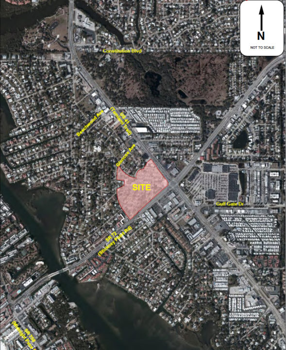 A graphic shows the site planned for Siesta Promenade and potential access points to it. Image courtesy Sarasota County