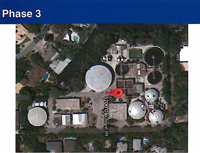 The large tank in the upper central portion of the site will remain for use in emergency situations. Image courtesy Sarasota County