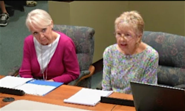 Barbara Campo (left) and Jude Levy appear before the City Commission on Nov. 7. News Leader photo