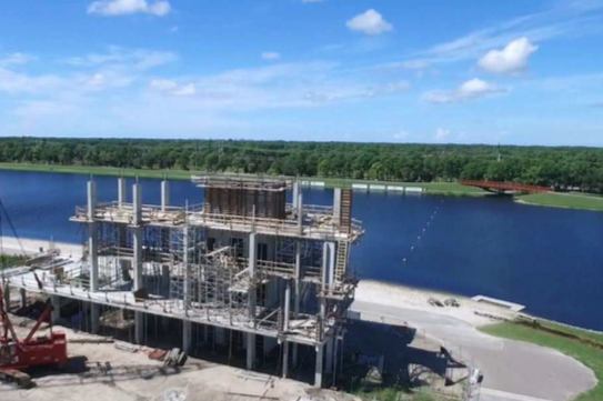 The fall newsletter of Nathan Benderson Park features this photo of the finish tower under construction. Image from the park website