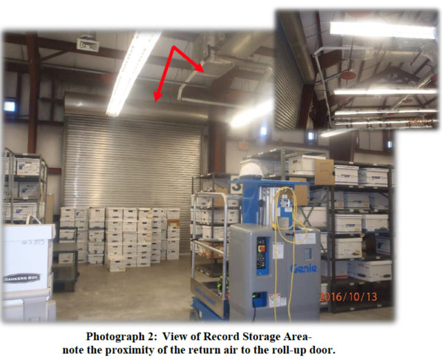 Photos show the rollup door in the records storage area of the warehouse. Image courtesy City of Sarasota