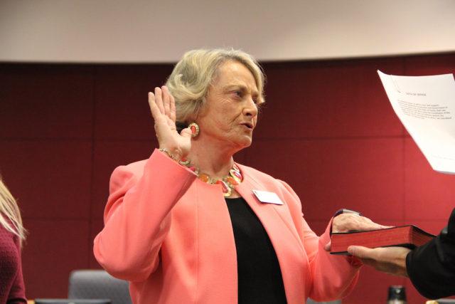 Commissioner Nancy Detert takes her oath on Nov. 22. Rachel Hackney photo