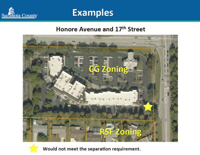 A graphic shows how a potential location of a food truck at the intersection of 17th Street and Honore Avenue would violate the ordinance. Image courtesy Sarasota County