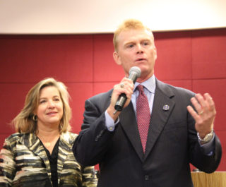 Hines addresses the audience after he has been sworn in for a second term. Rachel Hackney photo