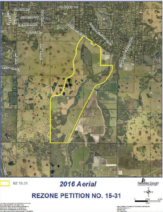 An aerial map shows the location of the proposed development (outlined in yellow). Image courtesy Sarasota County
