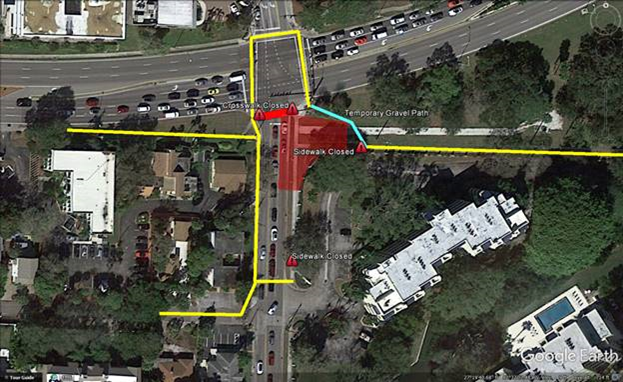 A graphic shows the area of the park that has been closed. Image courtesy City of Sarasota