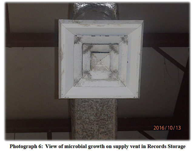 Microbial growth is visible on part of the HVAC system. Image courtesy City of Sarasota