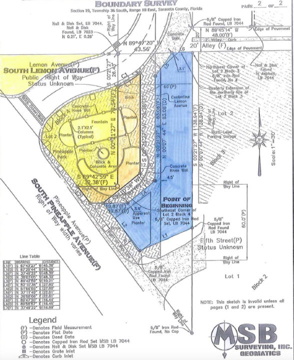 An engineering drawing shows facets of the past and current Lemon Avenue right of way and the park. Image courtesy City of Sarasota