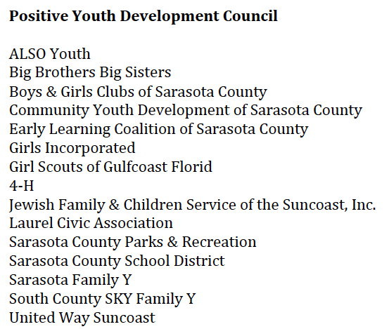The Positive Youth Development Council members represent these organizations. Image courtesy Sarasota County Schools