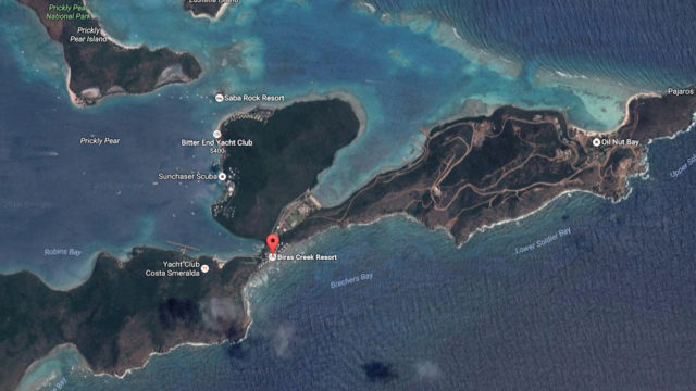A red marker shows the location of Briars Creek Resort in the British Virgin Islands. Image from Google Maps