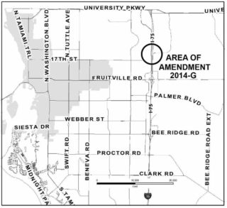 A county map shows the general area of the proposed project. Image courtesy Sarasota County