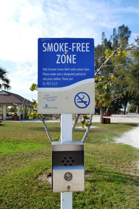 'Smoke-Free Zone' signs used to be posted at county beaches. File photo