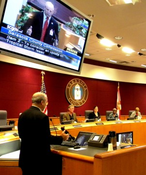 Sarasota County Emergency Management Chief Ed McCrane addresses the Sarasota County Commission. File photo