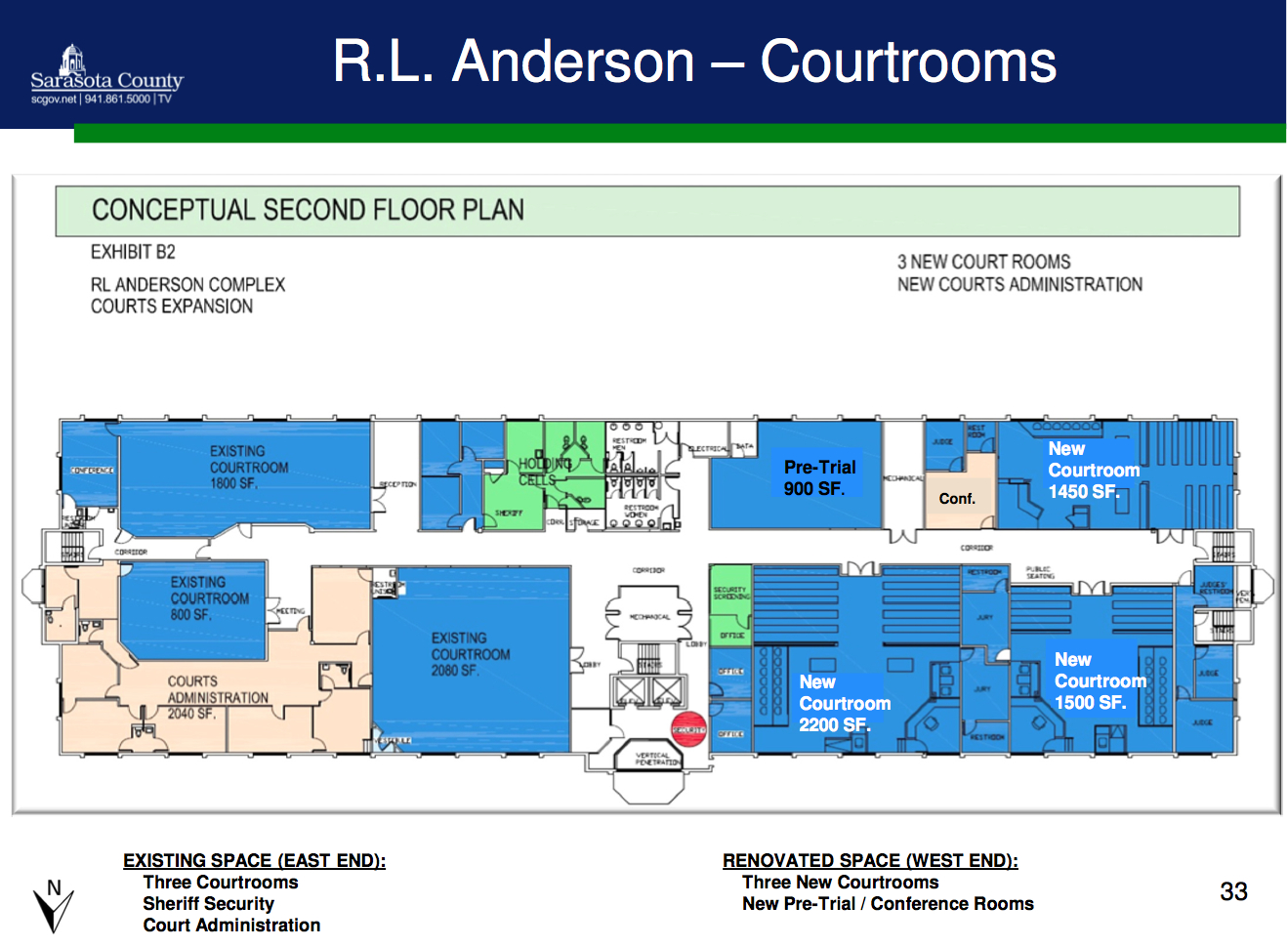 A graphic shows the proposed changes to the second floor courthouse space in the R.L. Anderson Center in Venice. Image courtesy Sarasota County