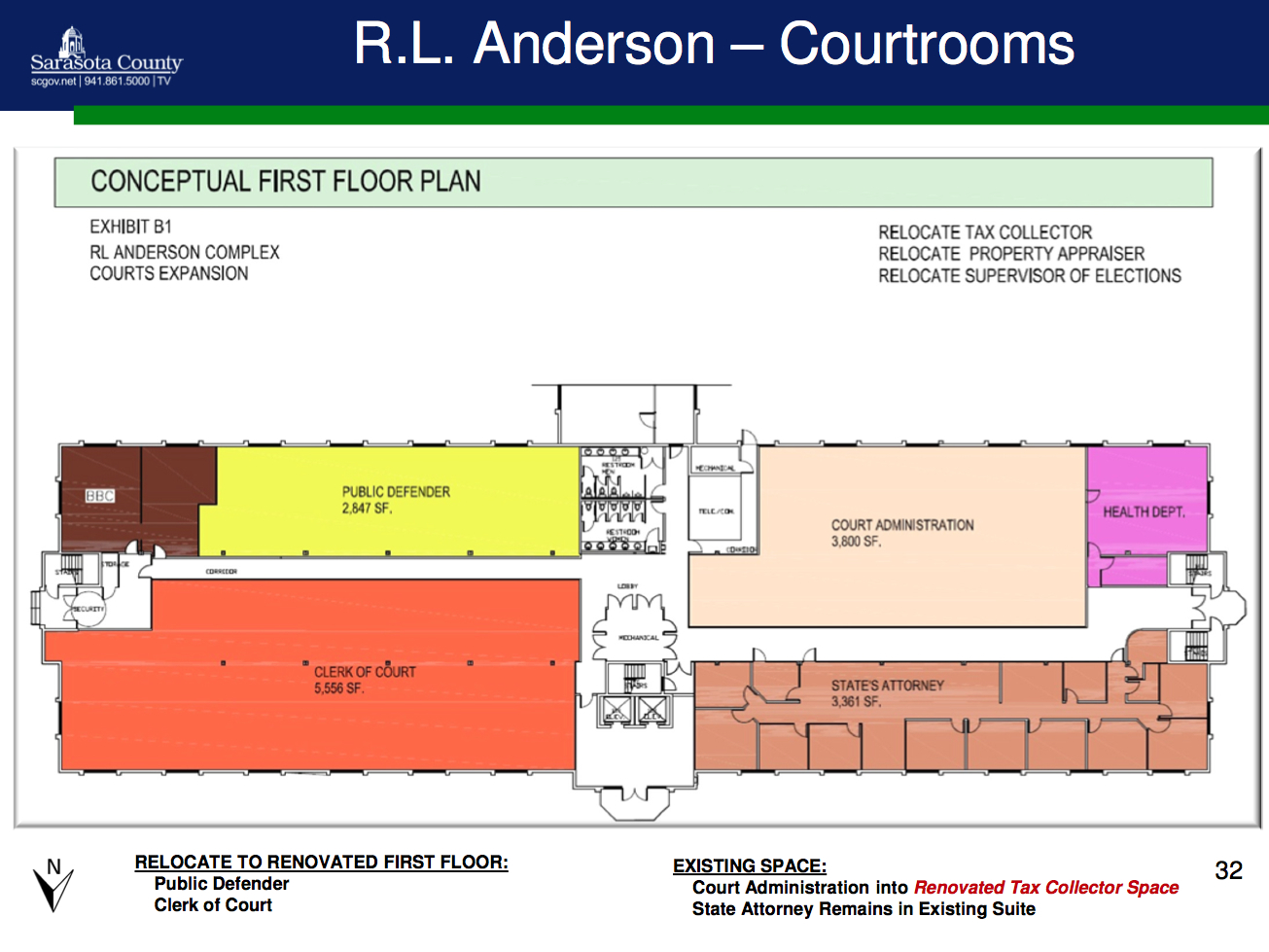 A graphic shows the proposed changes to the first floor courthouse space in the R.L. Anderson Center in Venice. Image courtesy Sarasota County