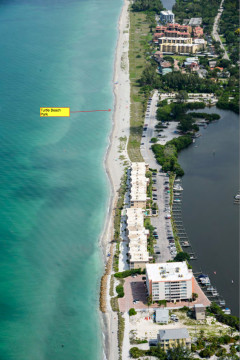 An aerial photo taken in July shows the location of Turtle Beach Park as a segment of the south Siesta renourishment project area. Image courtesy Sarasota County