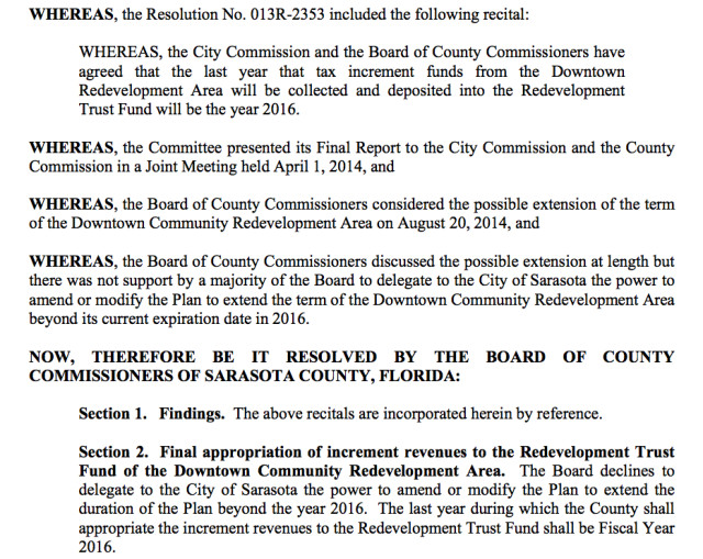 A section from the CRA resolution approved by the County Commission on Sept. 22 offers details on the board's consensus regarding the future of the Downtown Sarasota CRA. Image courtesy Sarasota County