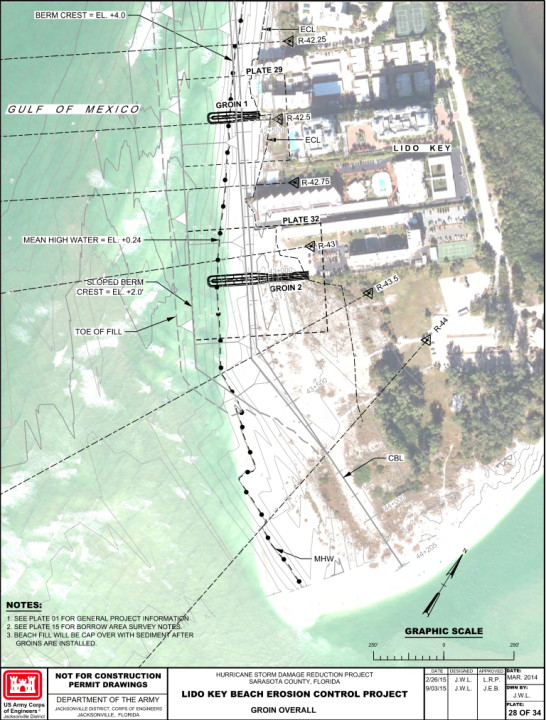 A U.S. Army Corps of Engineers graphic shows the planned location of two groins on Lido Key. Image courtesy Florida Department of Environmental Protection