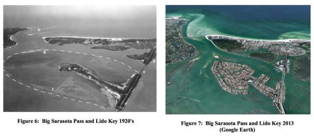 In its dredging permit application, the U.S. Army Corps of Engineers provided these contrasting aerial shots of Lido Key and Big Pass. Images from the Florida Department of Environmental Protection (FDEP)