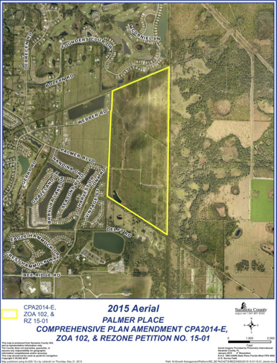 Palmer Place is planned for a parcel east of Interstate 75, south of The Founders Club. Image courtesy Sarasota County