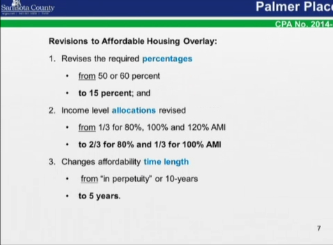 County staff recommended these changes in the Affordable Housing Overlay. Image courtesy Sarasota County