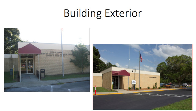 Before-and-after photos presented by Sarasota County Tax Collector Barbara Ford-Coates show improvements to the exterior of the Pompano Avenue facility. Photo courtesy Tax Collector's Office