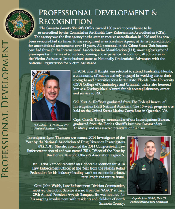 A section of the 2014 Annual Report of the Sheriff's Office points out some of the honors accorded personnel. Image courtesy Sheriff's Office