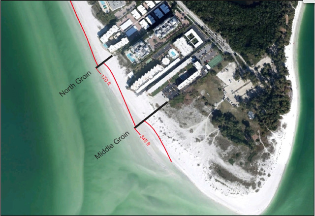 A graphic shows the proposed location of two groins on Lido Key. Image courtesy State of Florida