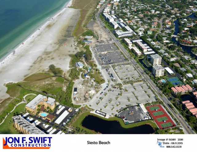 An aerial photo provided to Sarasota County Parks, Recreation and Natural Resources staff, taken in August, shows the progress of renovations at Siesta Key Public Beach. Photo courtesy Sarasota County and Jon F. Swift Construction
