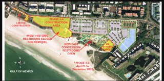 A Sarasota County graphic shows the progress of work at Siesta Public Beach. Renovations are scheduled to be completed by the end of this year. Image courtesy Sarasota County