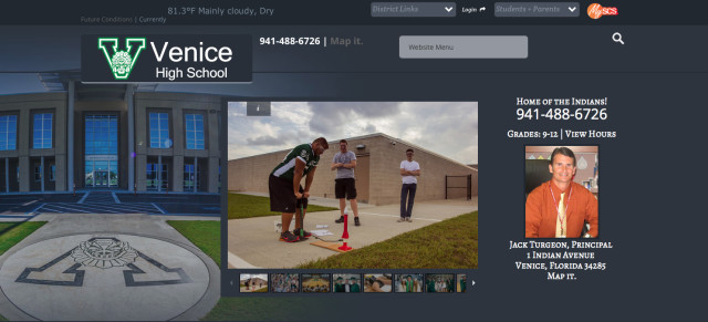 The Venice High School website. Image courtesy Sarasota County Schools
