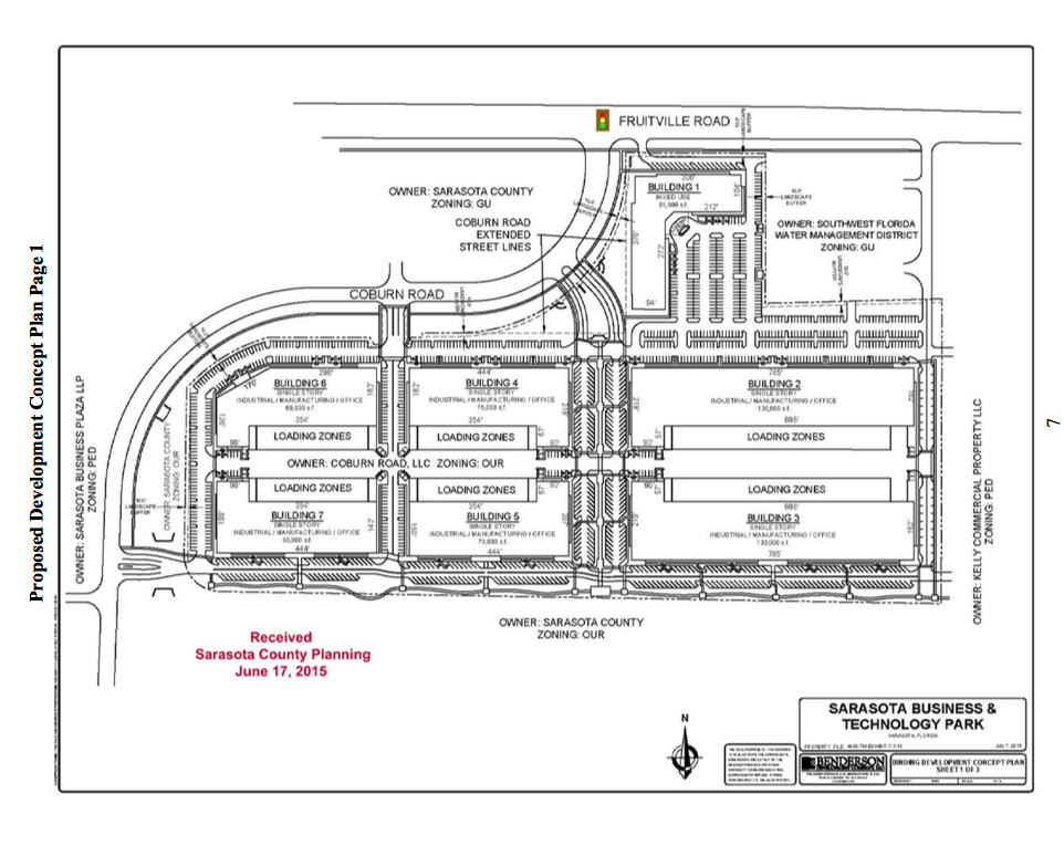 A graphic shows the concept for the revised Benderson project. Image courtesy Sarasota County